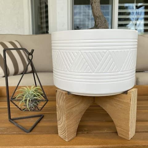 "Mid-Century 7"" Mountain Ceramic Planter on Wood Stand,Matte White"