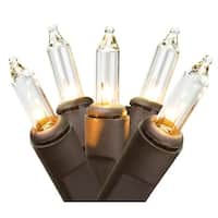 Set of 10 Battery Operated Clear Mini Christmas Lights -Brown Wire
