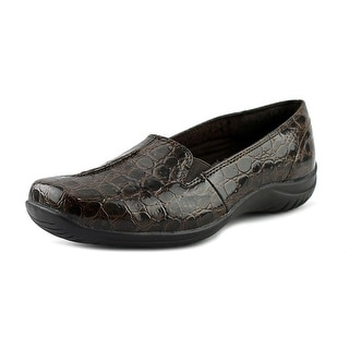 Easy Street 40-8676 Women WW Square Toe Leather Brown Loafer