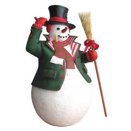 6' Commercial Grade Snowman with Broom Fiberglass Christmas Display Decoration