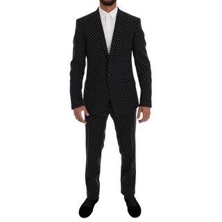 Dolce & Gabbana Black Wool Polka Dot MARTINI Slim fit Suit