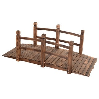 Costway 5' Wooden Bridge Stained Finish Decorative Solid Wood Garden Pond Arch Walkway