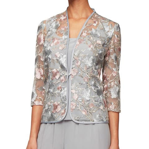 Alex Evenings Womens Gray Size Large L Twinset Floral Embroidered