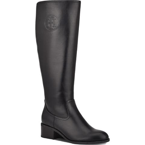 Tommy Hilfiger Womens TWDEELIA2 Knee-High Boots Faux Leather Zip-Up