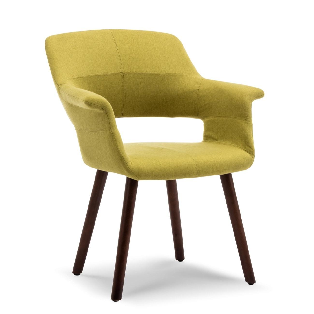 Belleze Dining Chair Accent Mid Century Linen Armrest Padded Wooden Legs