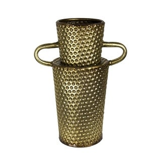 Downrightly Imposing Metal Dimple Texture Vase, Gold