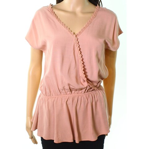 Moa Moa Pink Womens Size Medium M Surplice Crochet Trim Knit Top