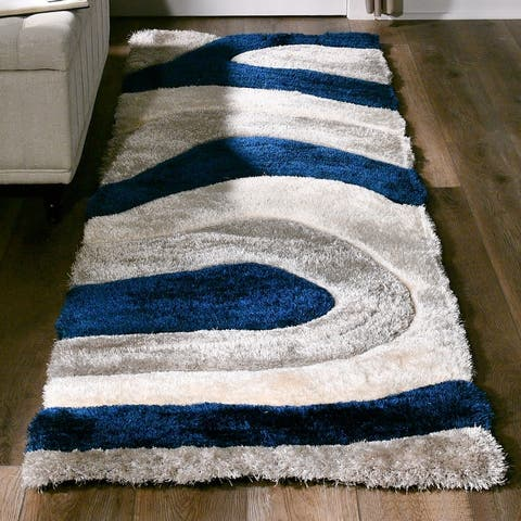 Mateos Shag Collection Blue/Ivory Area Rug