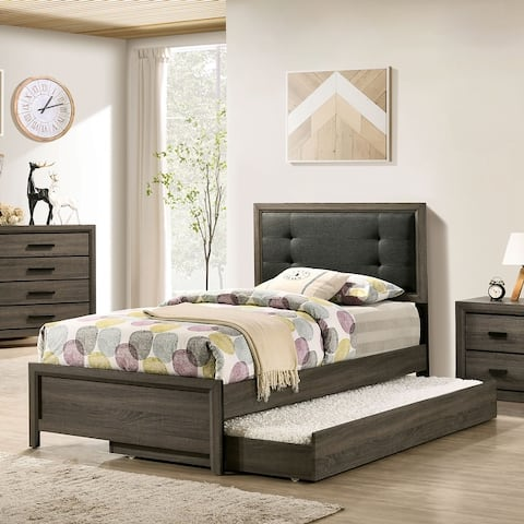 Furniture of America Aury Transitional Grey Bed and Trundle Set