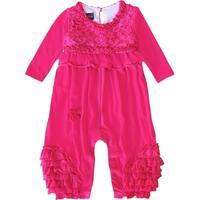 Isobella & Chloe Baby Girls Hot Pink Lace Ruffle Detail Kaylee Romper 3-18M