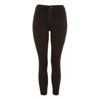 TopShop NEW Deep Black Womens Size 30x28 Joni Moto Slim Skinny Jeans