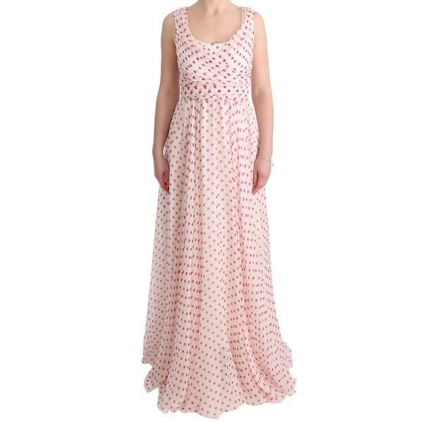 b5d253f142 Shop Dolce & Gabbana White Red Polka Dotted Silk Dress - it40-s ...
