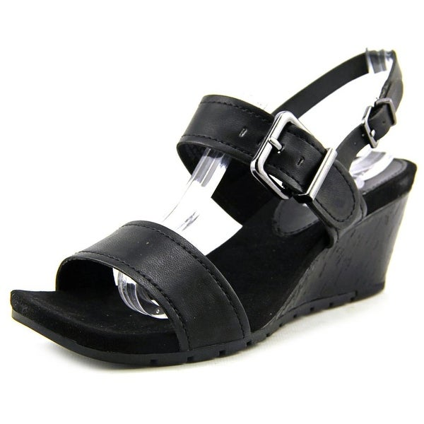 Bandolino Gladis Women Open Toe Synthetic Black Wedge Sandal