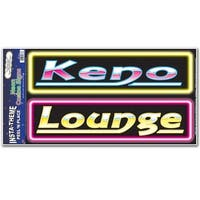 """Club Pack of 12 """"Keno"""" & """"Lounge"""" Neon Casino Sign Peel 'N Place Festive Party Accessory Decorations - YELLOW"""