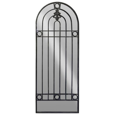 Arch Shape Metal Frame Wall Mirror with Fleur De Lis Ironwork, Black