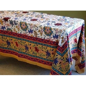 Handmade 100% Cotton Floral Print Tablecloth Tapestry Throw Wall Decor 64x90 Tan Twin Full