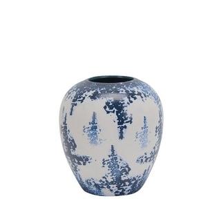 Attractive Round Decorative Ceramic Vase, Blue And White