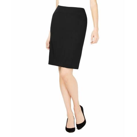 Kasper Womens Straight Skirt Jet Petite Pencil Crepe