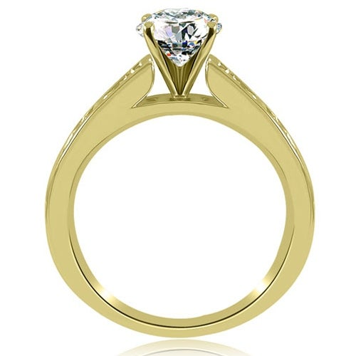 1.50 cttw. 14K Yellow Gold Cathedral Channel Round Cut Diamond Engagement Ring