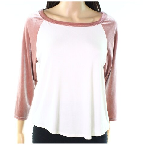 Moa Moa Pink White Womens Size Small S Velvet-Sleeve Knit Top