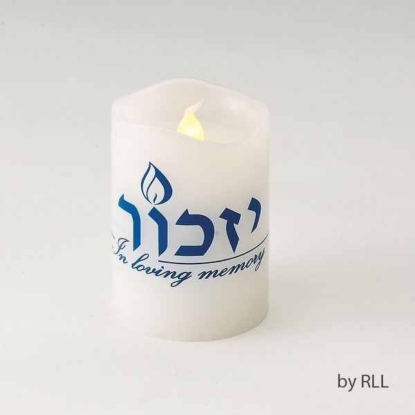 "2.75"" White and Blue Flickering Yizkor Memorial LED Flameless Candle - N/A"
