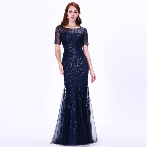 b9c94bc5a83 Ever-Pretty Womens Tulle Sequin Fishtail Elegant Long Formal Evening Party  Prom Dress 07707