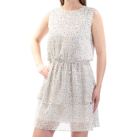 CYNTHIA ROWLEY Womens Ivory Floral Sleeveless Jewel Neck Above The Knee Layered Dress Size: S