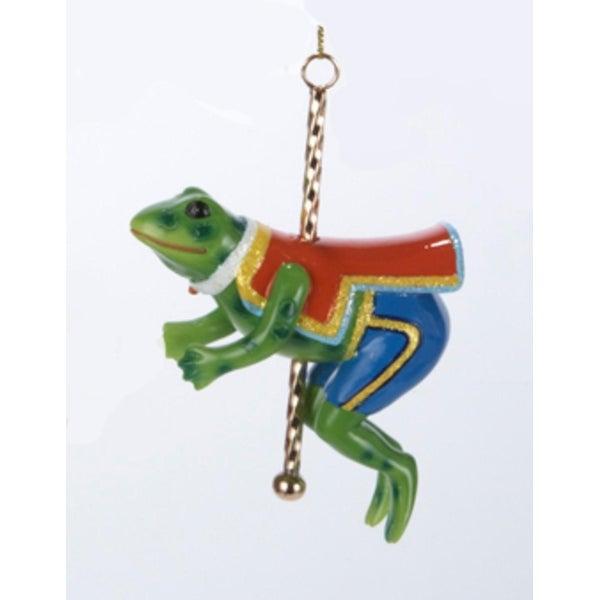"4.5"" Frog with Carousel Pole and Saddle Christmas Figure Ornament - green"