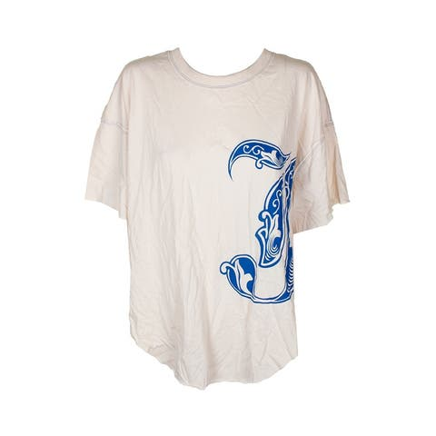 Free People Cream Blue Short-Sleeve Cotton Graphic-Print T-Shirt S
