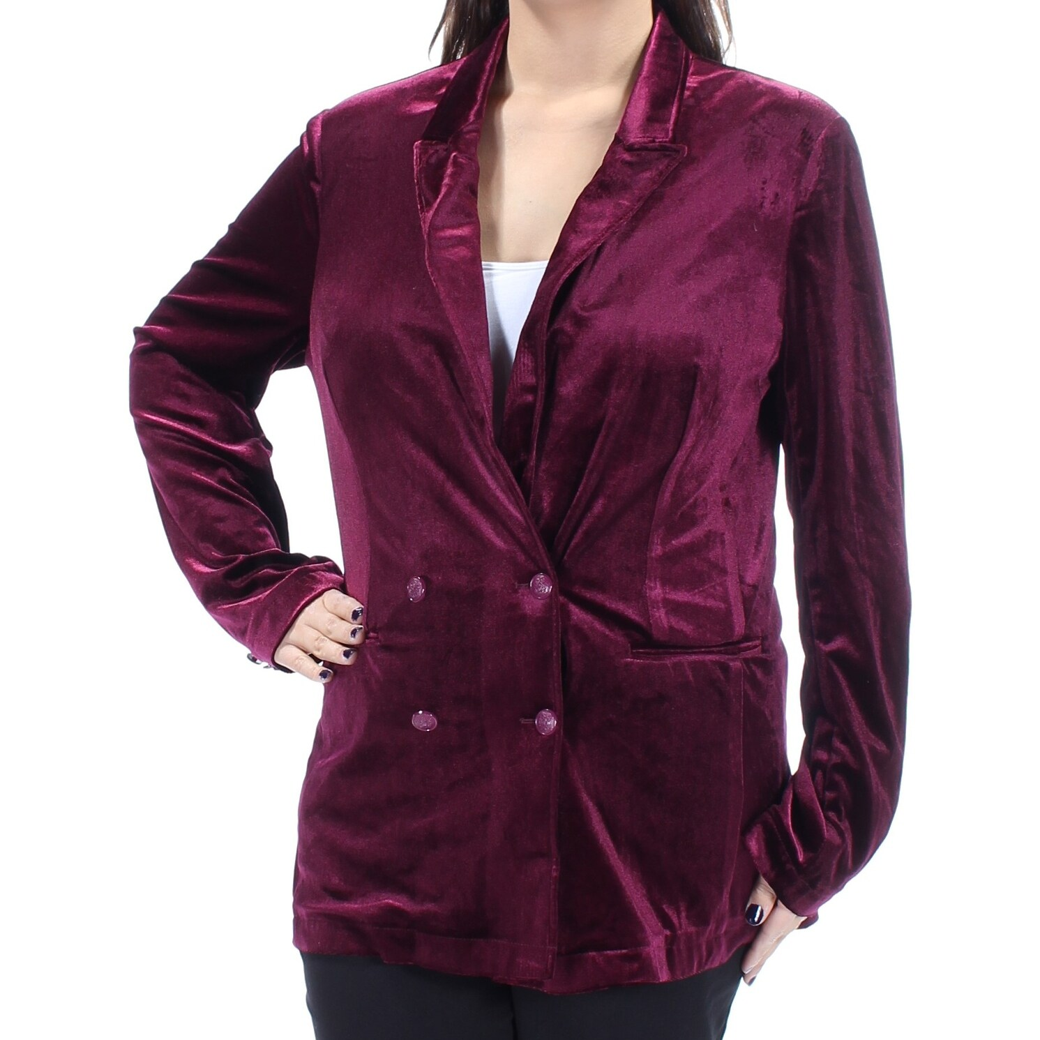 Fairchild Womens Burgundy Velvet Blazer Wear To Work Jacket Size Xl Overstock 21906050