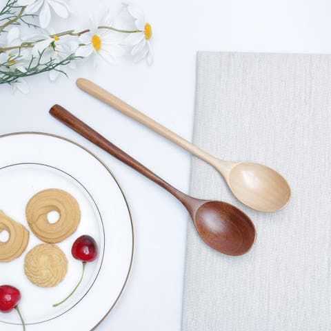 """9.1"""" Wooden Spoons 2 Pcs Wood Soup Spoons for Mixing Stirring Cooking Kitchen - 9.1""""x1.6""""(L*W)"""