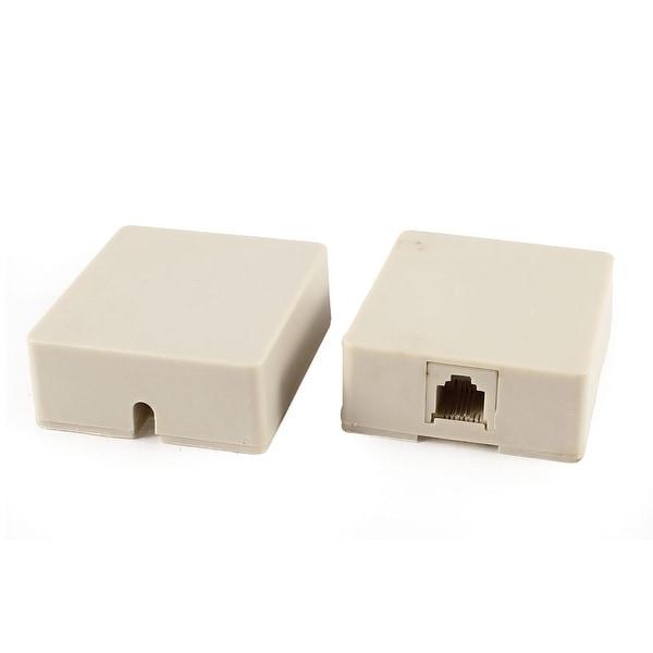 Unique Bargains 2 Pcs RJ11 6P4C Female Socket US Telephone Cable Inline Connector Beige
