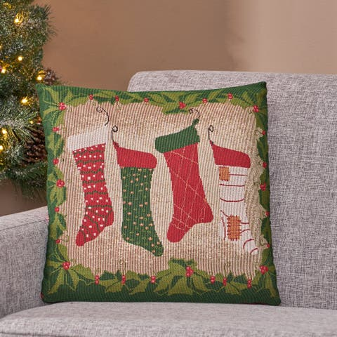 Krosp Modern Fabric Christmas Throw Pillow by Christopher Knight Home