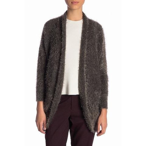 14th & Union Gray Womens Size XS Eyelash Shawl Cardigan Sweater