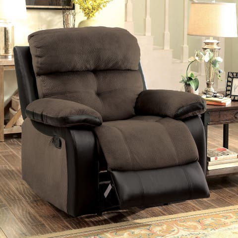 Furniture of America Ferg Transitional Brown Faux Leather Recliner
