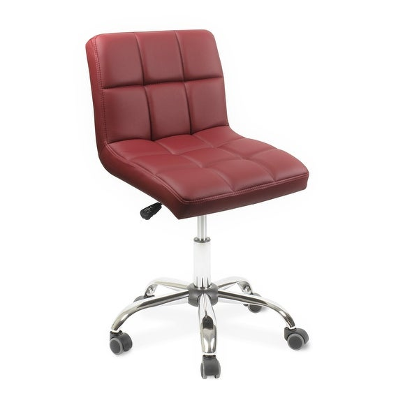 """TOTO Home Office Button-Tufted Desk Chair, Armless Thick Cushion, Adjustable Height 19""""-25"""", Modern Red. Opens flyout."""