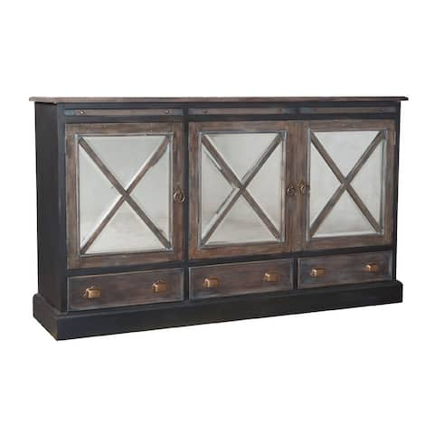 """72.5"""" Gray and Brown 3-Drawer Credenza with Mirrored 3-Door Panels"""