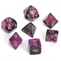 Chessex Gemini Black And Purple With Gold Polyhedral Dice Set