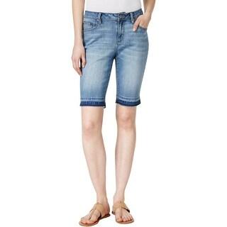 Earl Jean Womens Bermuda Shorts Released Hem Light Wash