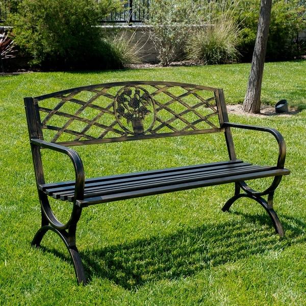 Belleze 50 Patio Garden Bench Park Yard Outdoor Furniture Porch Chair Seat Steel Frame