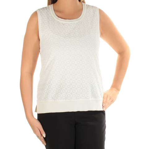 TOMMY HILFIGER Womens Ivory Textured Sleeveless Scoop Neck Top Size: L