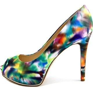 Guess Honora 3 Women Open Toe Canvas Multi Color Platform Heel