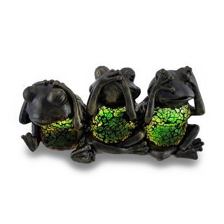 No Evil Frogs Green Crackle Glass Accent Lamp