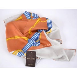 NEW GUCCI 352213 SQUARE SILK BEIGE ORANGE INTERLOCKING GG TWILL TILE SCARF