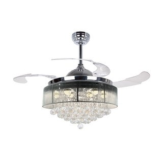 """Warm Light 42.5"""" LED Ceiling Fan With Foldable Blades, Chrome"""