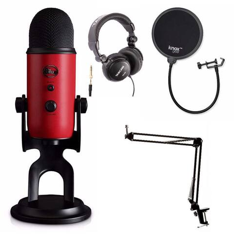 Blue Microphones Yeti Red USB Mic w/ Knox Boom Arm & Headphones Bundle