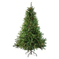 6' Pre-Lit Canadian Pine Artificial Christmas Tree - Multi Lights - green