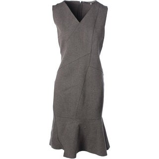 Elie Tahari Womens V-Neck Heathered Wear to Work Dress