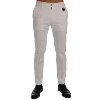 Dolce & Gabbana White Cotton Stretch Chinos Pants - it46-s