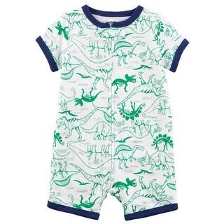 Carter's Baby Boys' Dinosaur Zip-Up Cotton PJ Romper - green dino